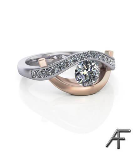 Kärlekens öga - exklusiv diamantring i rött och vitt guld