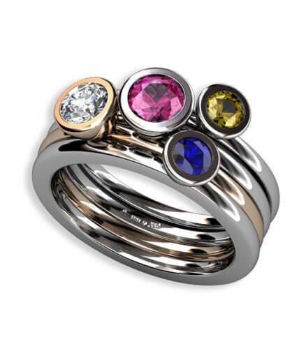 blå safir, gul safir, rosa safir samt briljantslipad diamant