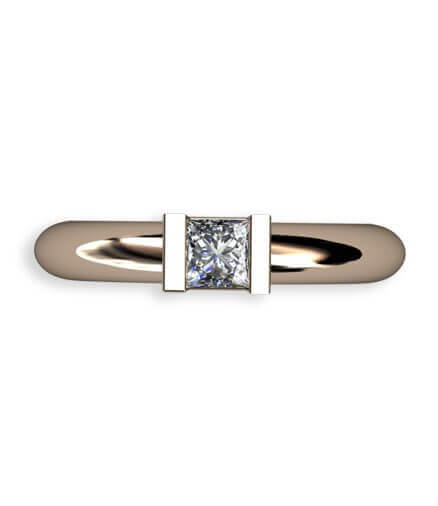 slät ring med prinsess slipad diamant i 18 k rött guld