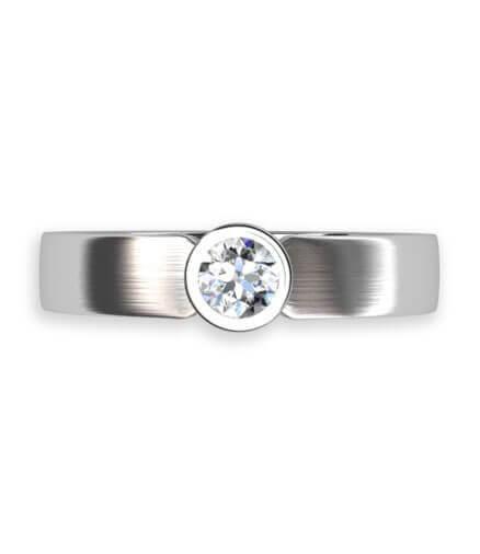 svagt svagt välvd ringskena med briljantslipad diamant