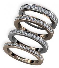 4 st alliansringar med fadeninfattade briljantslipade diamanter
