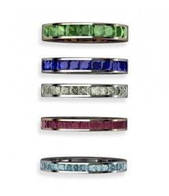 blå diamanter, rubiner, blå safirer, gröna diamanter, turmaliner alliansringar