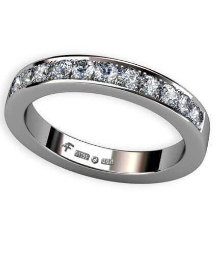 3,2 mm alliansring med fadeninfattade diamanter vitguld