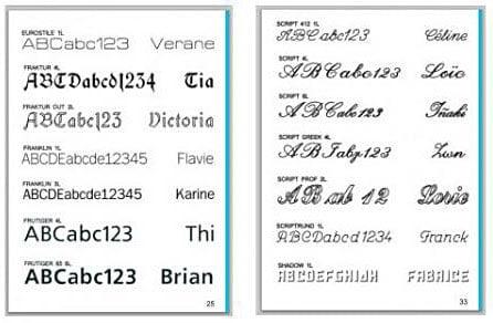några exempel på typsnitt för gravyr