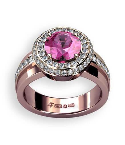 roséguld rosettring med rosa safir