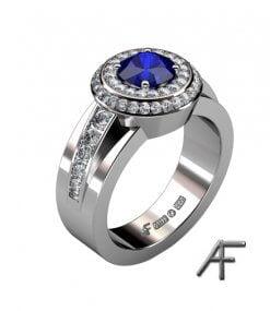 haloring med blå safir och diamanter