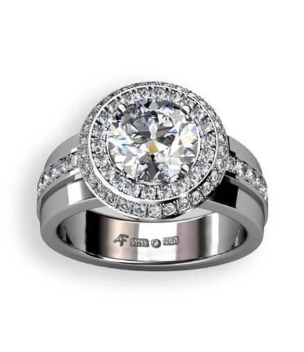 rosett ring med stor diamant
