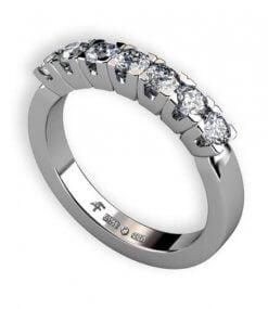 alliansring stilren med briljantslipade diamanter 7 x 0.09 ct