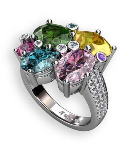 candy - ring i vitguld med diamanter och ädelstenar