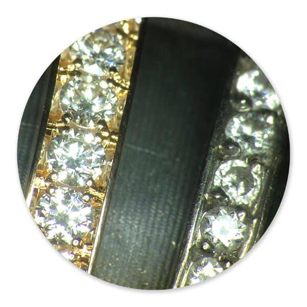 fattningsarbete av briljantslipade diamanter utfört av 2 olika juvelfattare