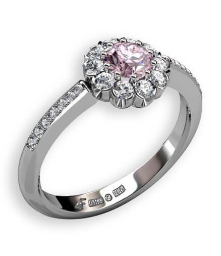 Halo ring med rosa spinell