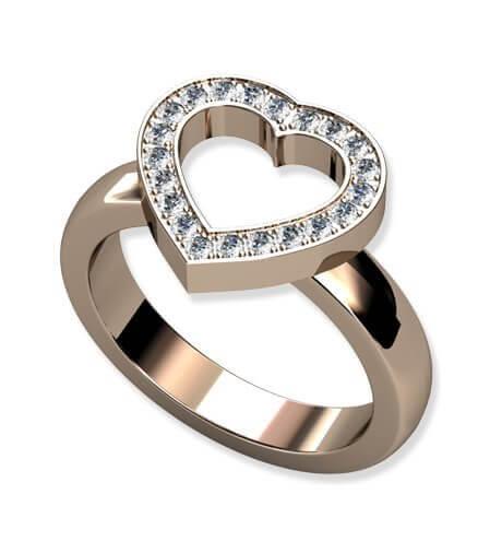 Hjärtring med diamanter