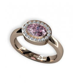 haloring 18 k guld med rosa turmalin