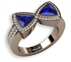 blå safirer och briljantslipade diamanter