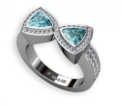 blå äkta zirkon samt diamanter