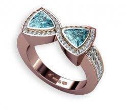 roseguld och diamanter samt blå äkta zirkon
