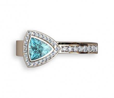diamantring med blå äkta zirkon