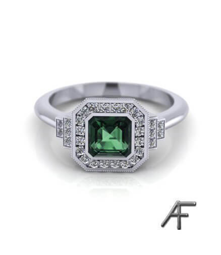 haloring i Art Deco stil med grön safir och diamanter