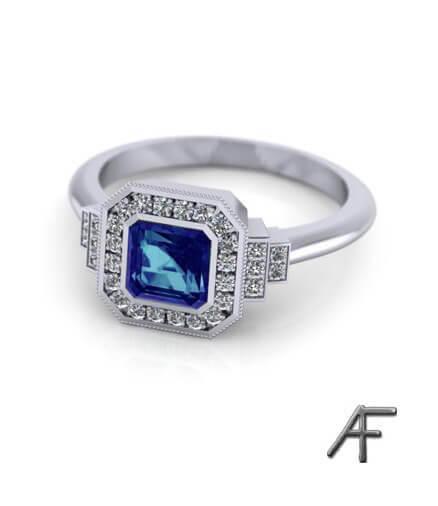 Art Deco haloring blå safir och diamanter platina
