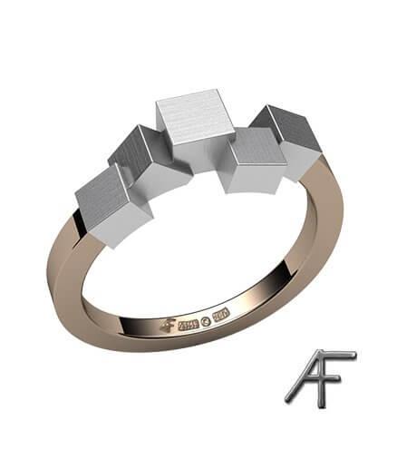 cube ring i 18 k rött och vitt guld